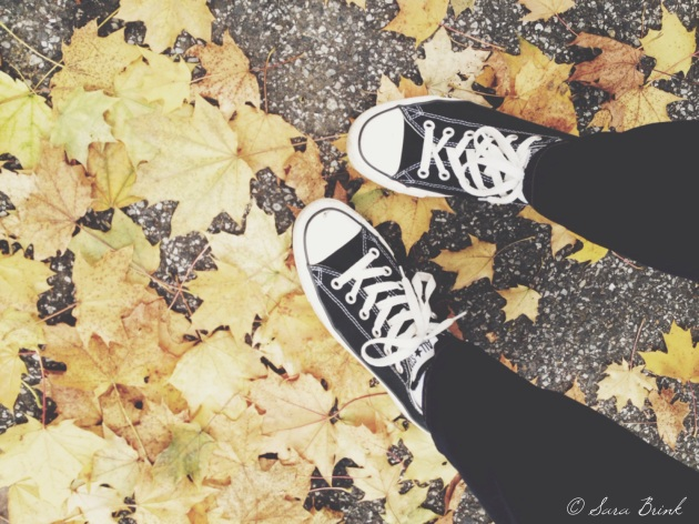 sneakers and leaves